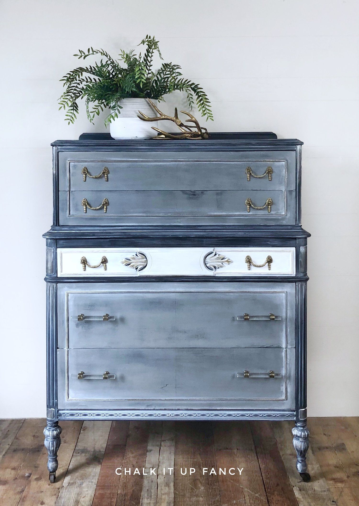 Vintage Dresser Updated In A Custom Finish Using Grey Black And White Original Hardware Mixed Wi Vintage Dressers Painted Dresser Painted Furniture Designs [ 2110 x 1500 Pixel ]