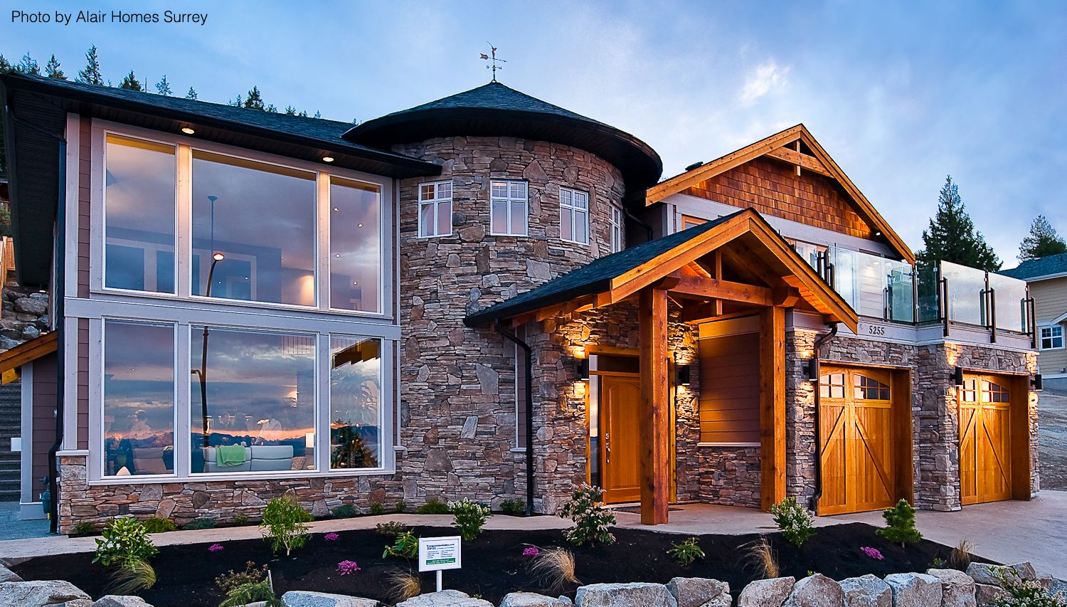 A mix of elements were used to create this home exterior