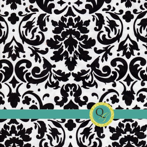 Designer Fabric By the Yard Black and White by QuiltingGarden, $7.75