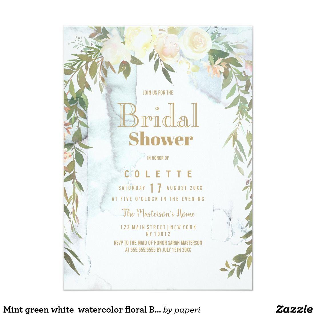 b2d4f0df44db Mint green white watercolor floral Bridal Shower Invitation (affiliate)