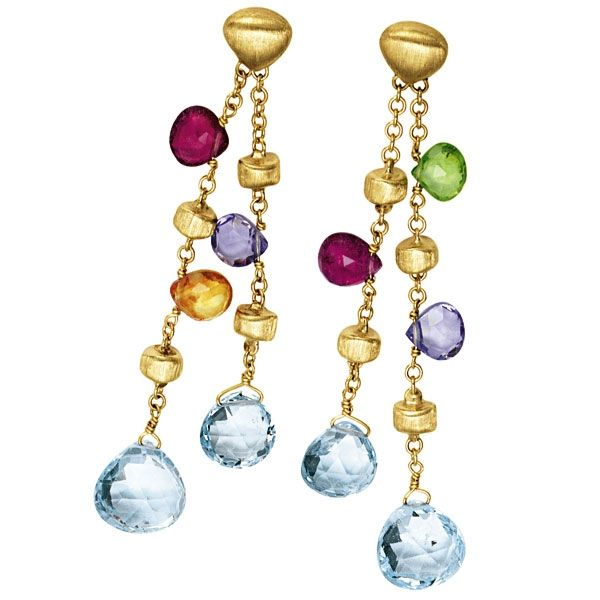 Marco Bicego Paradise Double Drop Earrings with Mixed Gemstones Oz3Jg5k