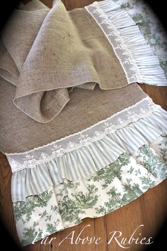 burlap runners with lace and ticking