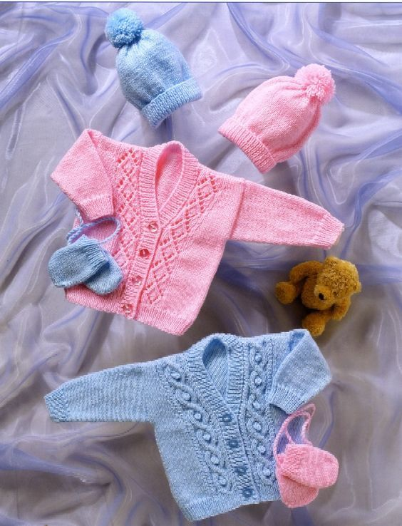 Free Knitting Patterns For Babies Cardigans Double Knit Knitting
