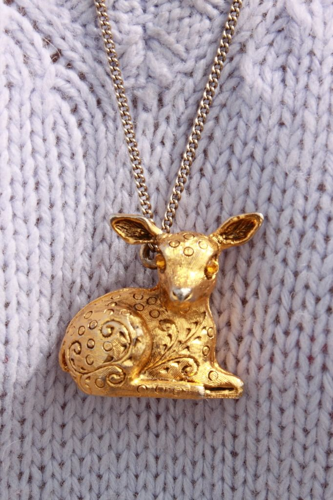 Vintage deer locket necklace