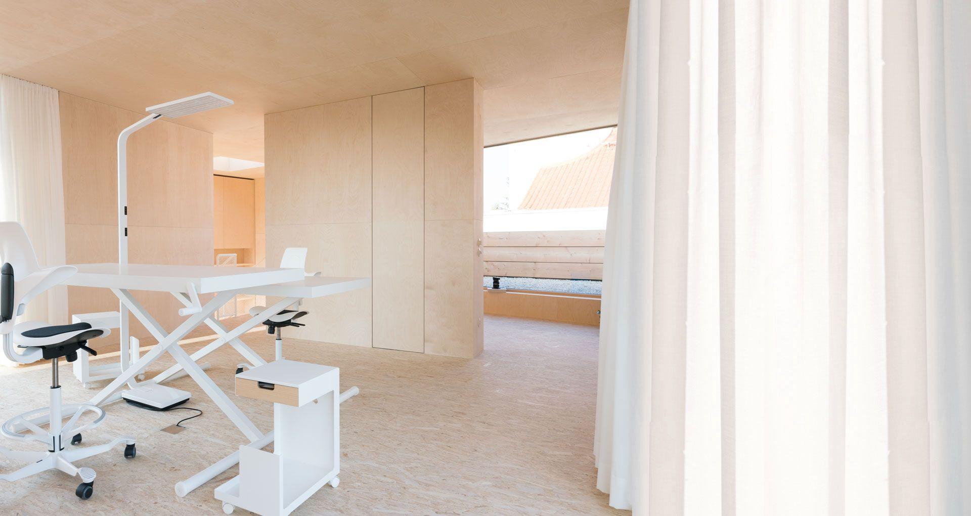 Neubau in Mainz, schlichte Materialien, Wand-/Deckenverkleidung ...