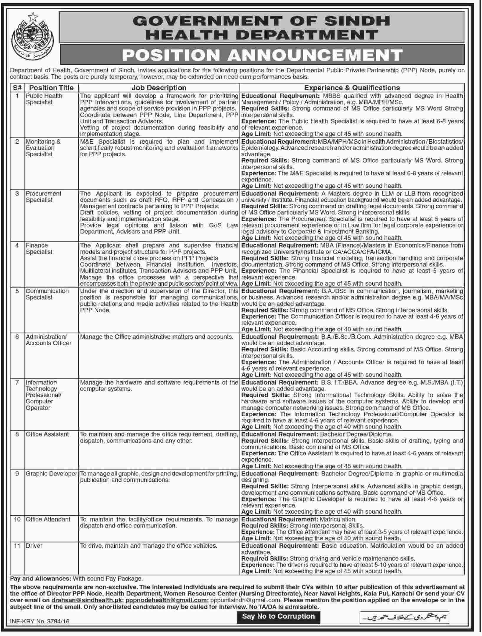 Health Department Karachi Jobs Health department, Health