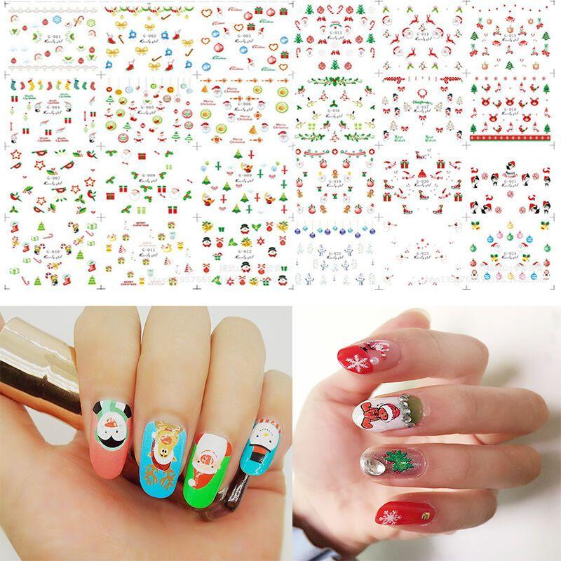 12 Sheet Christmas 3d Nail Art Stickers Snowflakes Trendy