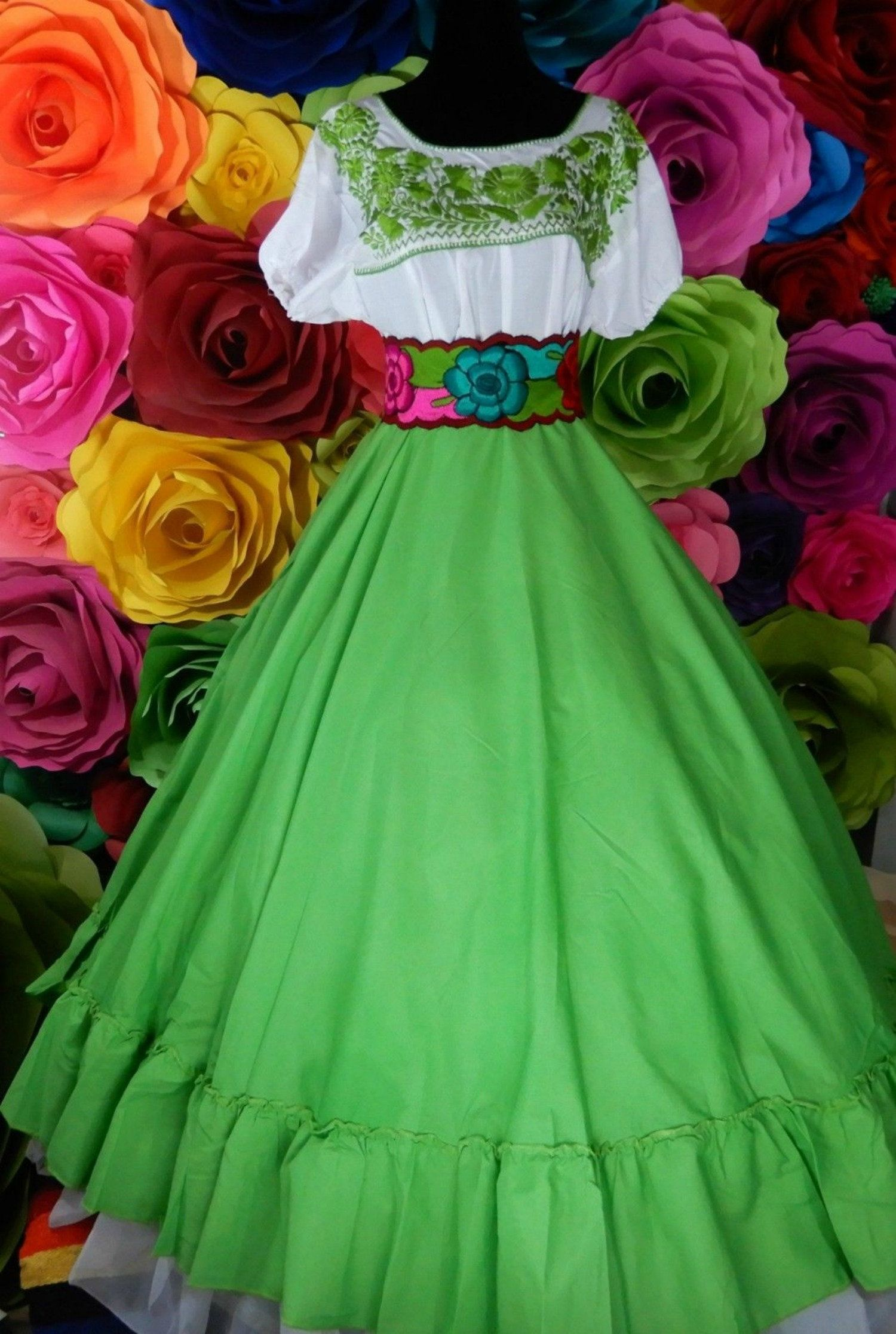 Mexican womans SKIRT ONLY  China Oaxaca Pink Frida Kahlo style-womans mexican boho coco theme party day of the dead Guelaguetza style  100cm
