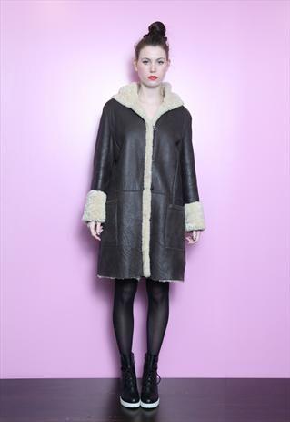 Vintage 1980's Amazing Hooded Mid Length Sheepskin Coat