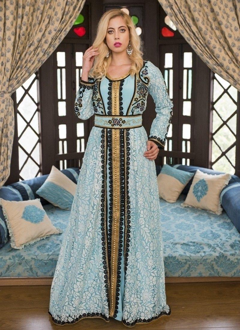 2e76e078e8 Aqua Blue Moroccan Wedding Kaftan With Thread Work in 2019 | Not a ...