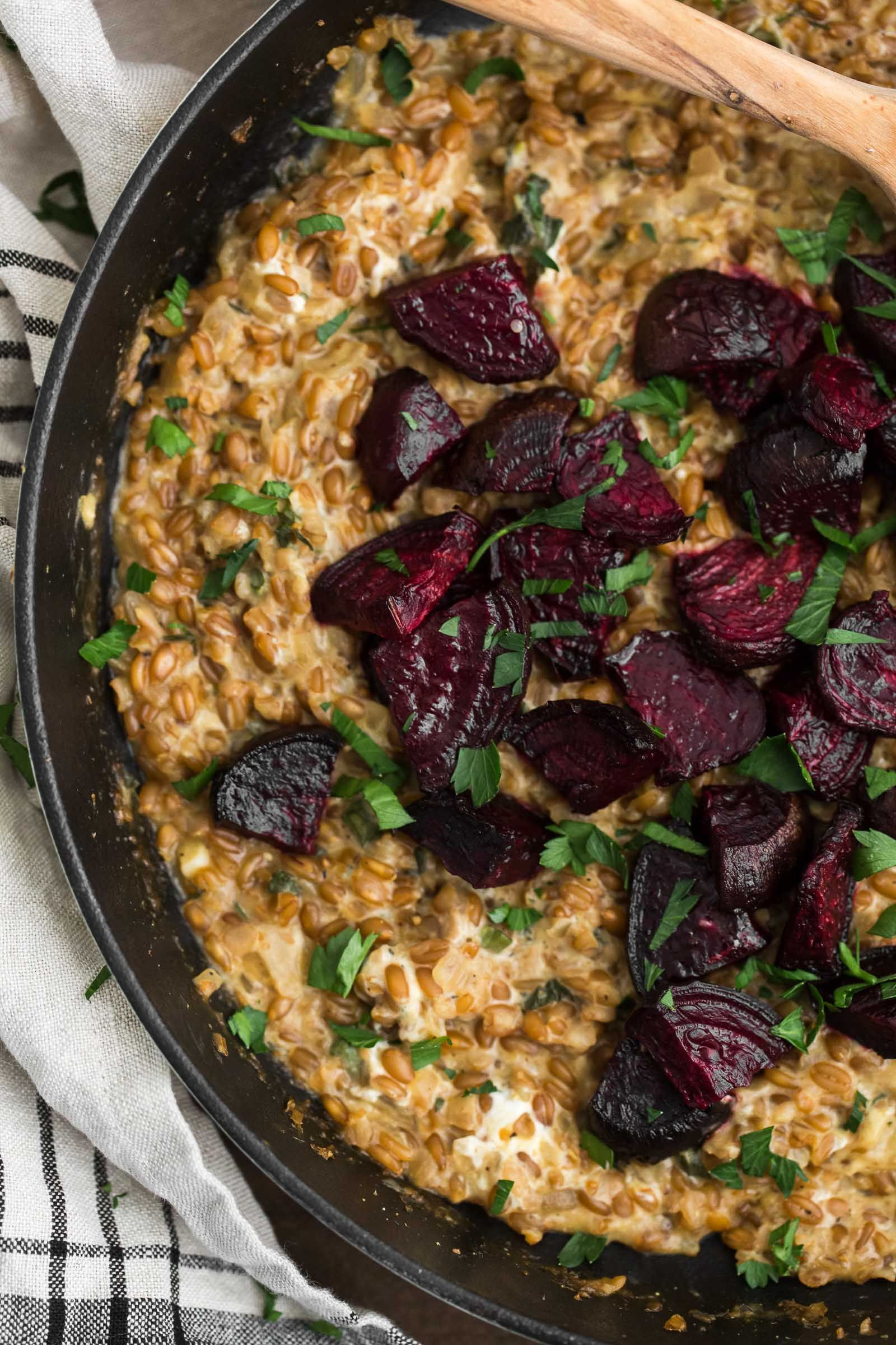 Cracked Spelt Risotto with Roasted Beets