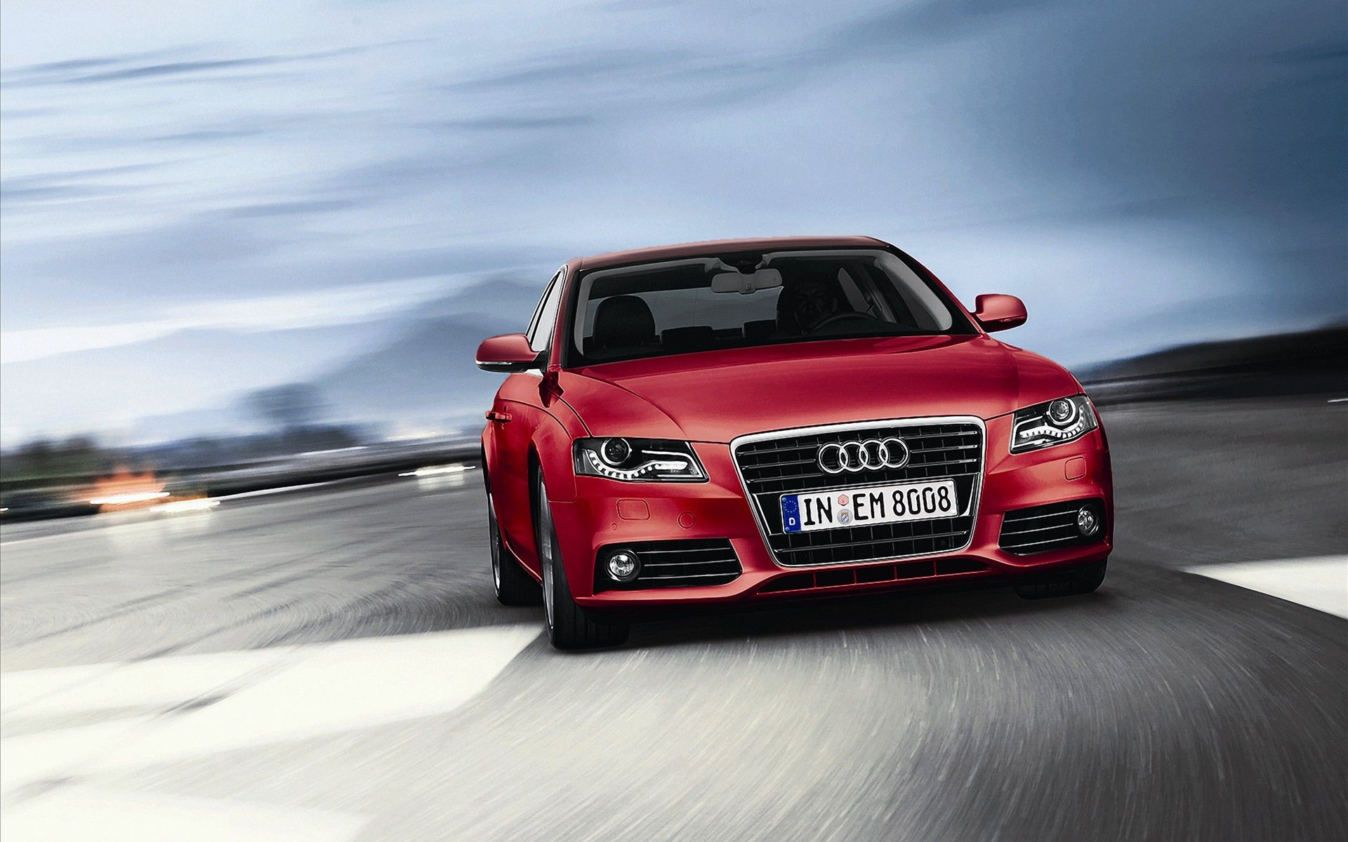 Audi A4 Red Cars Wallpaper Image