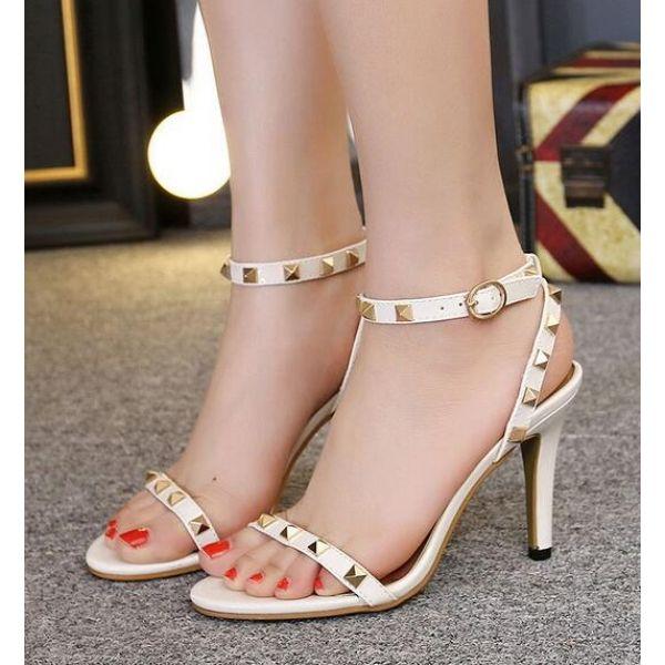 Pure Color Peep toe High Heel Sandal Noir Kr7cn9