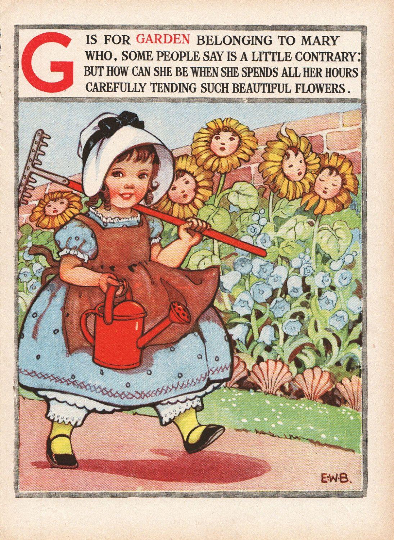 Nursery rhyme Mary quite contrary Nursery decor little ...