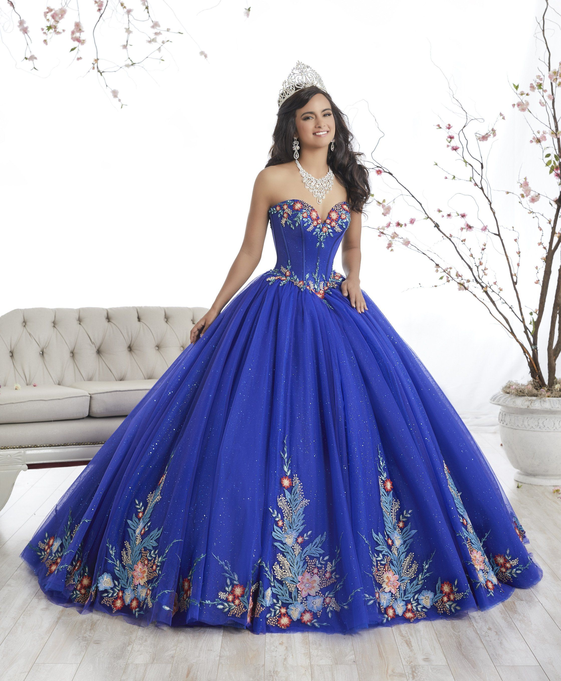 b0c7c6e40db Floral Appliqued A-line Quinceanera Dress by House of Wu 26869