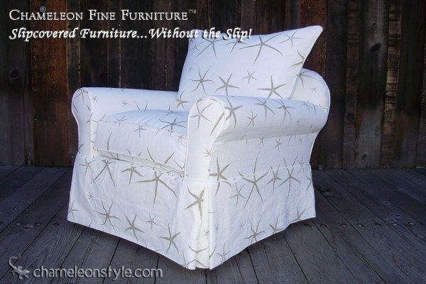 Chameleon Fine Furniture   Slipcovered Furniture Without The Slip! Rachel  Chair Dressed In Sea Star Sand Fabric