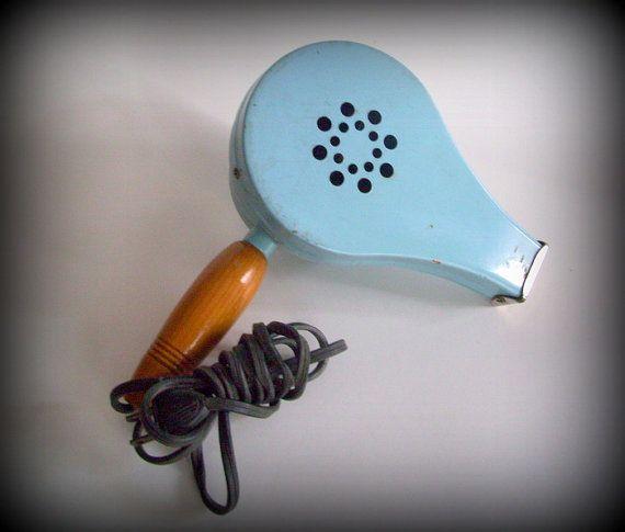 Vintage 50 S Hair Dryer Baby Blue Metal By
