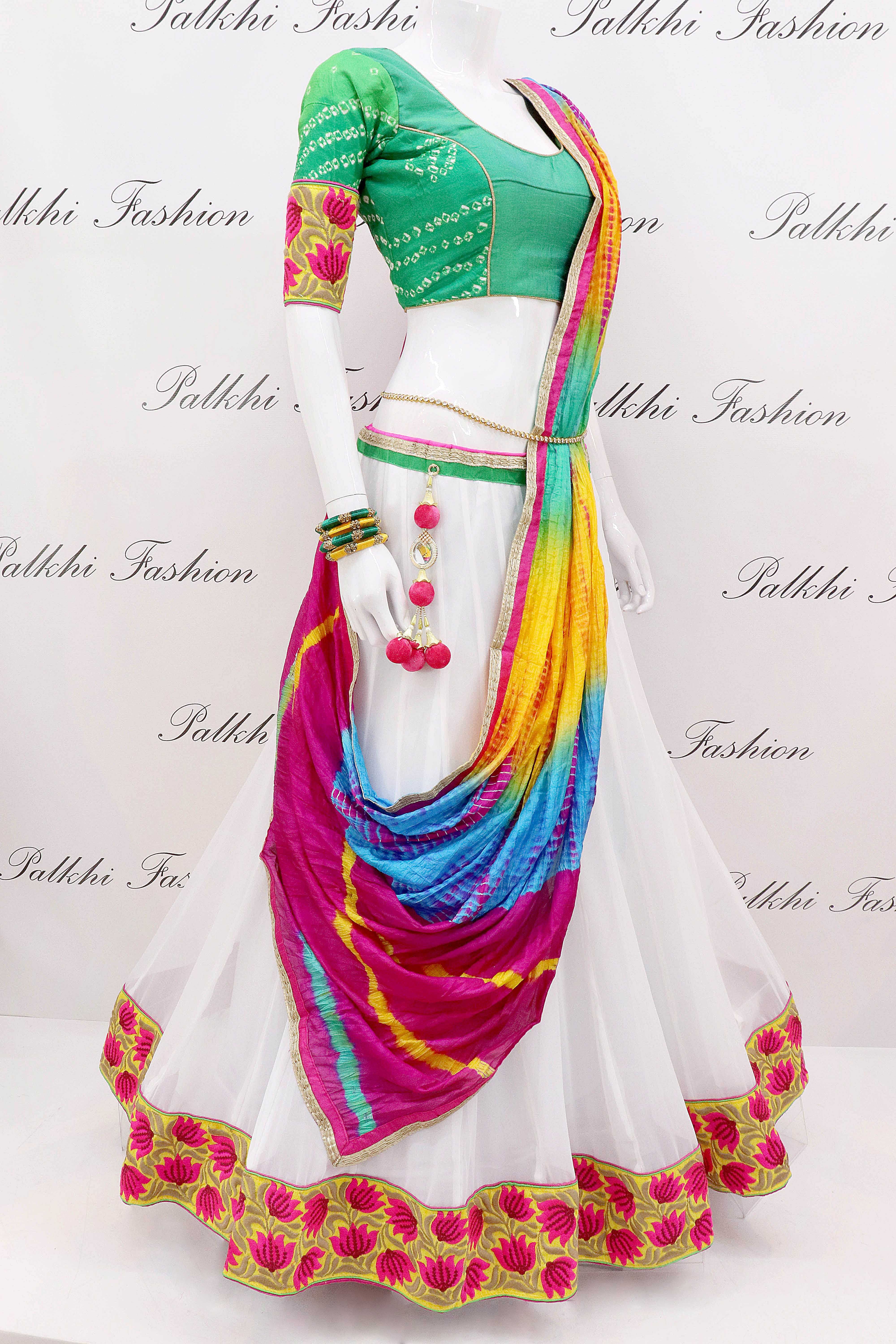 87dd97fde3 White Gorgeous Chaniya Choli With Beautiful Color Combination in ...