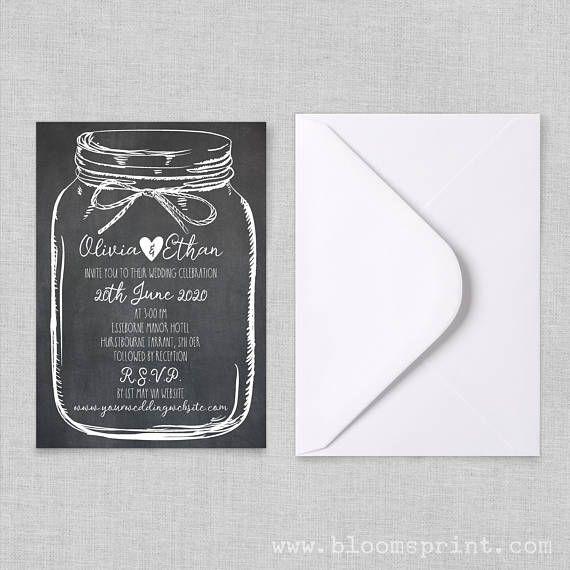 Rustic mason jar wedding invitations Country wedding invitation