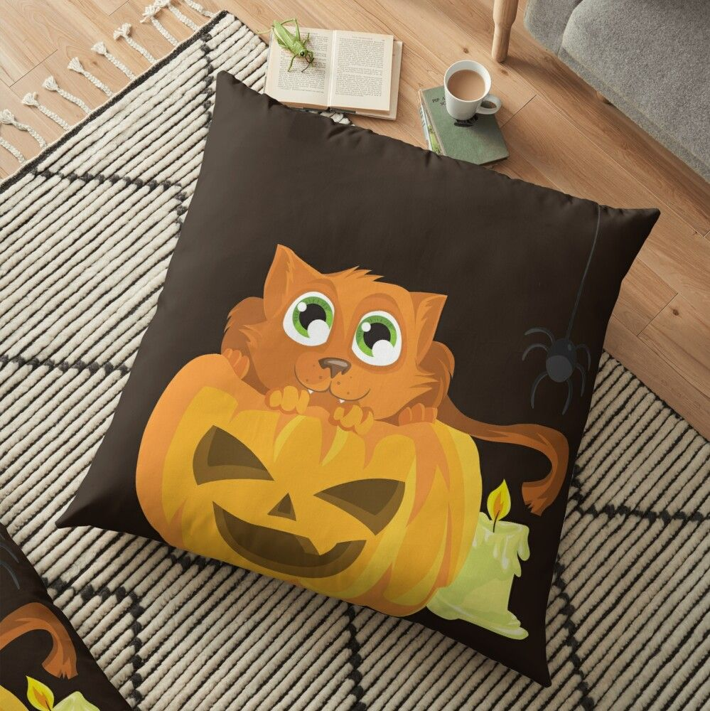 'Ginger Kitten In A Pumpkin' Floor Pillow by Zerasu #gingerkitten