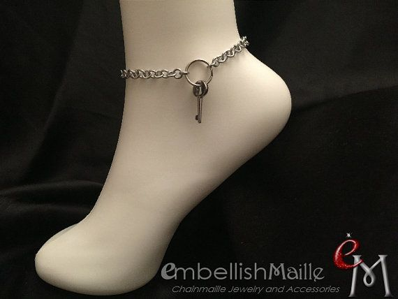 Key holder jewelry discrete dominant anklet bracelet owner key holder jewelry discrete dominant anklet by embellishmaille fandeluxe Choice Image