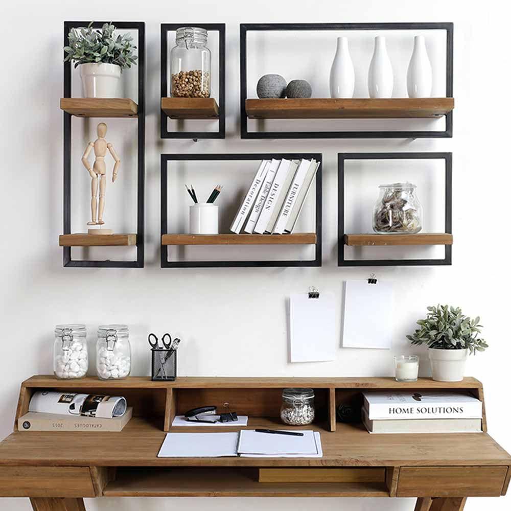 etageres murales originales en teck et m tal home decor pinterest. Black Bedroom Furniture Sets. Home Design Ideas