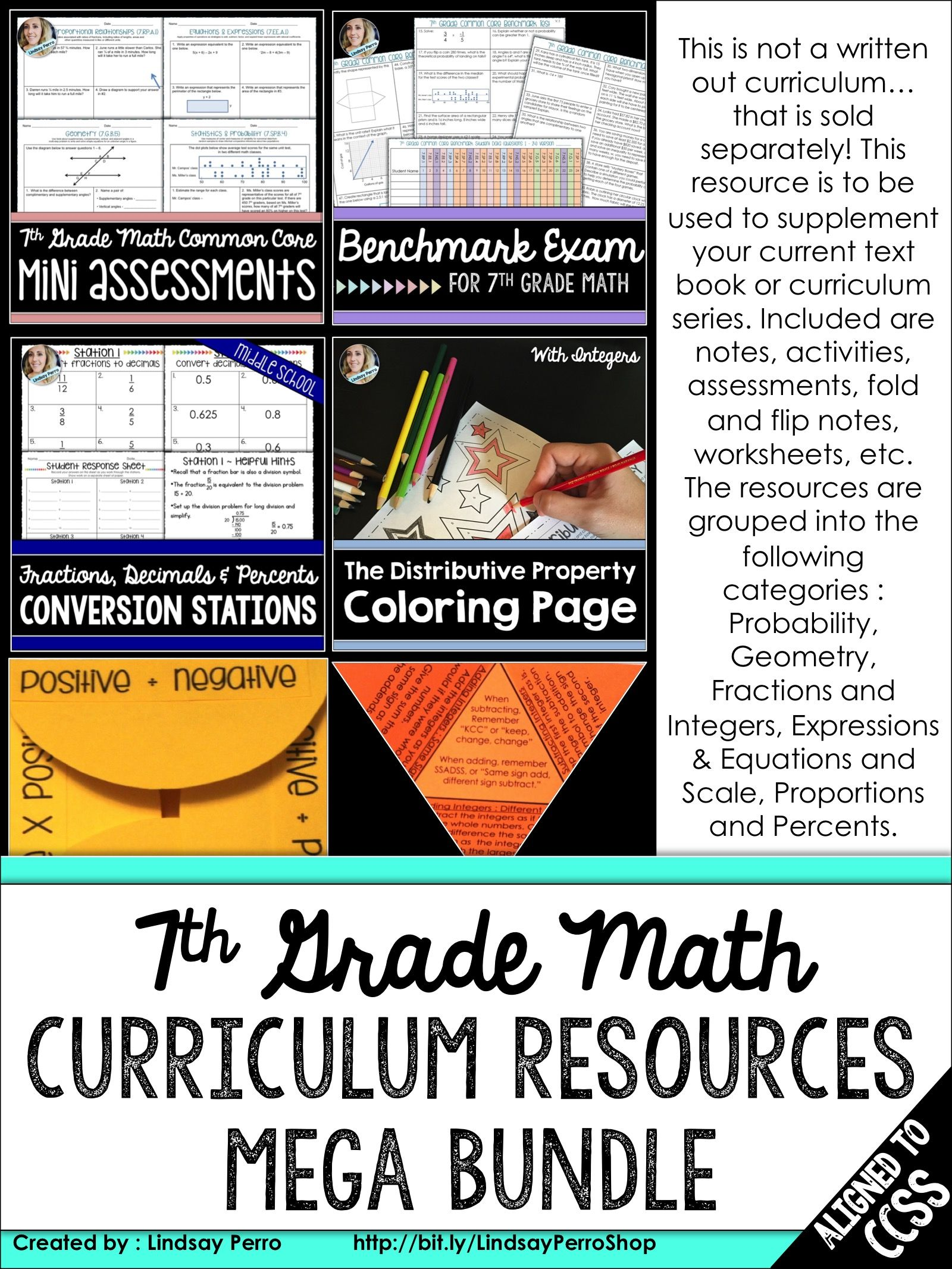 7th Grade Math Curriculum Resources Bundle A Year Of
