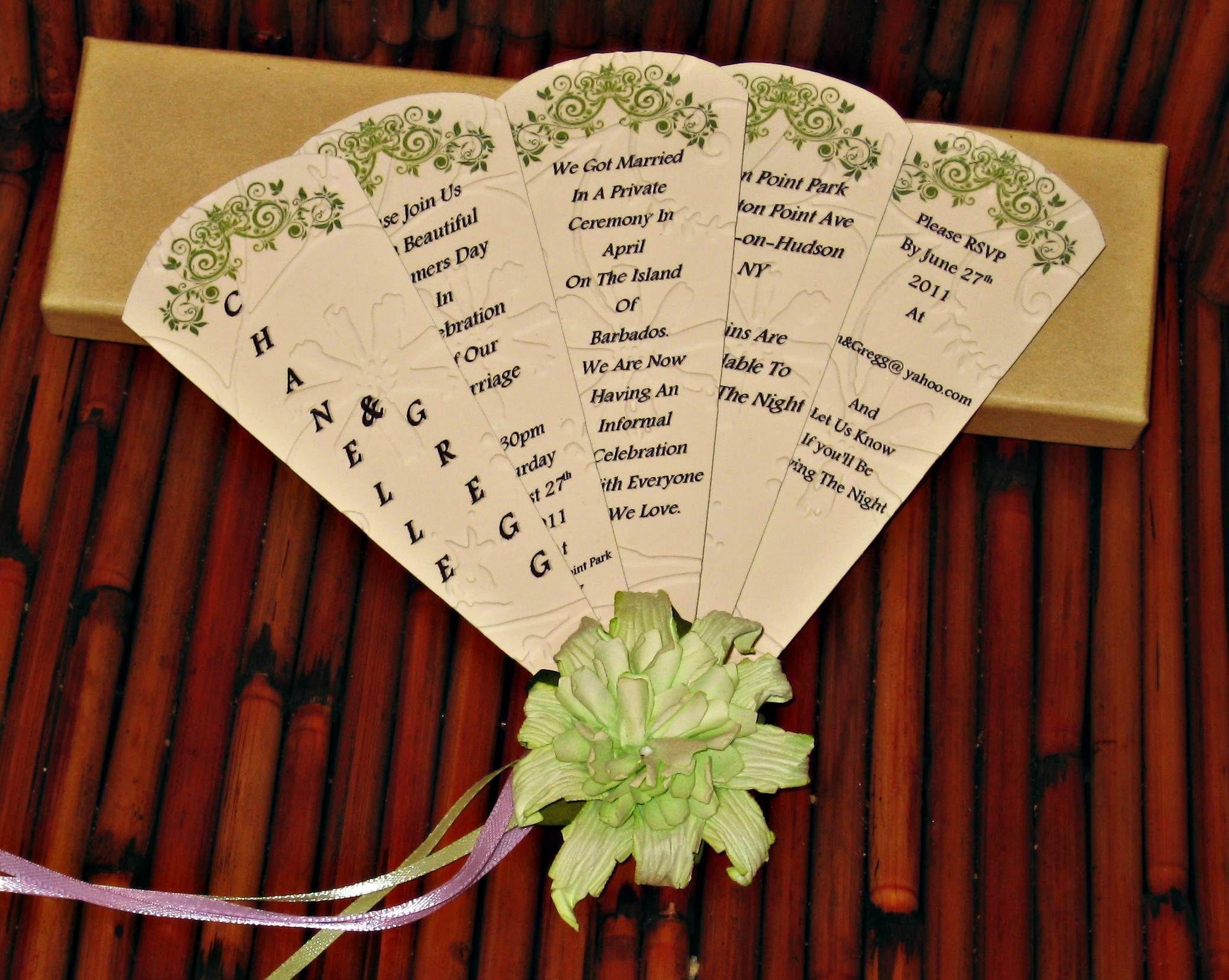 Informal wedding fan card invitation informal wedding fan card invitation monicamarmolfo Image collections