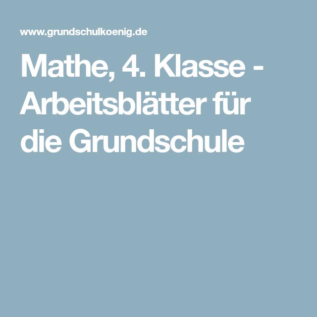 Mathe, 4. Klasse - Arbeitsblätter für die Grundschule | schule ...