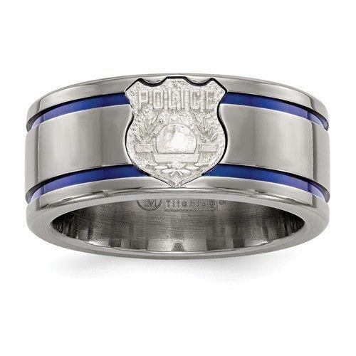 Jewel Tie Black Titanium Blue Anodized with SS Police Shield Tag 10mm Wedding Band
