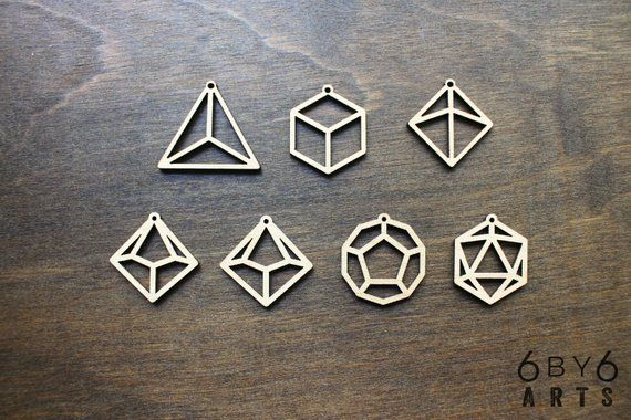 Dungeons and Dragons Geometric Dice Shapes Laser Cut Wood