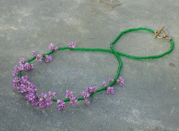 Lilac Flower Seed Bead Choker