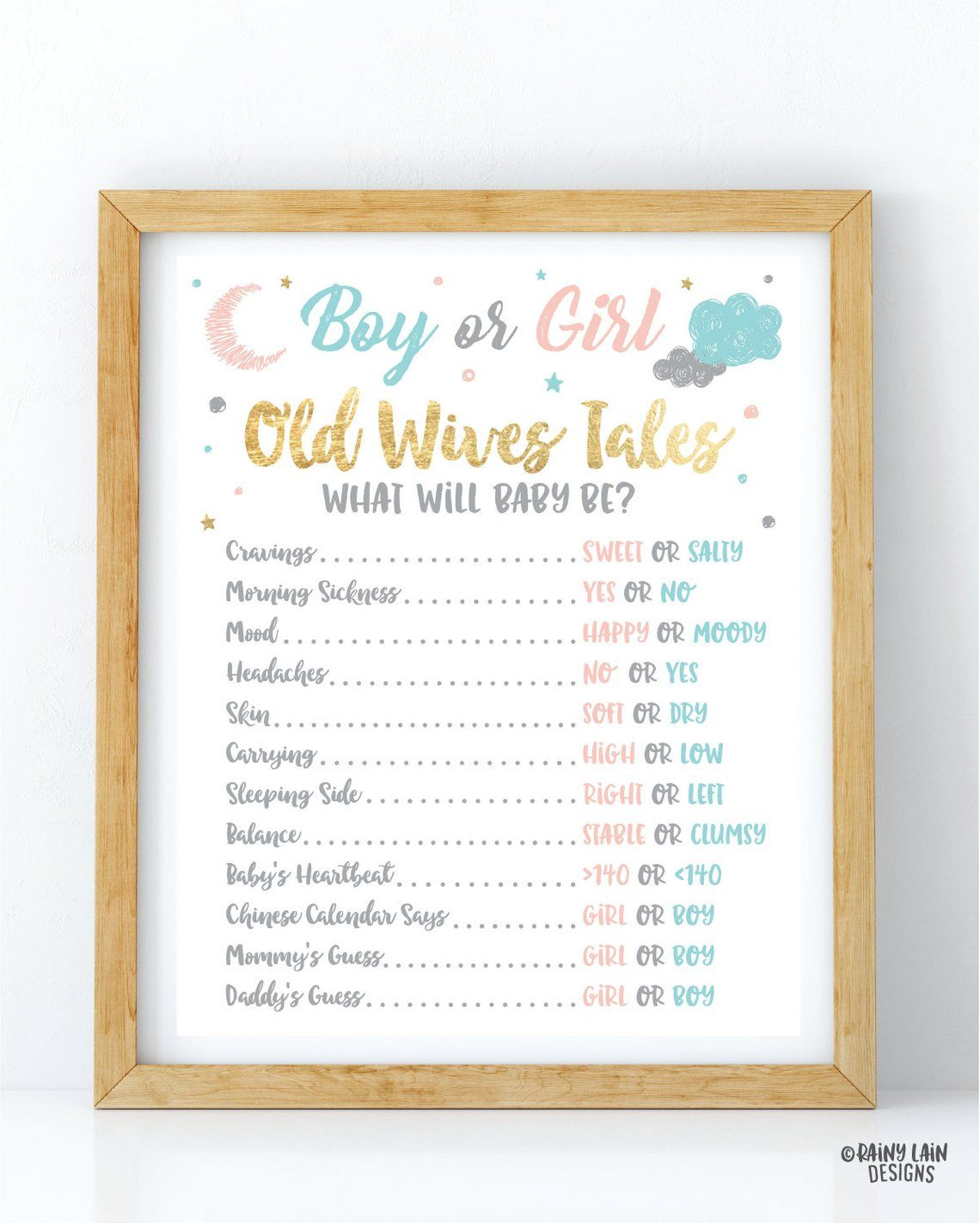 Gender Reveal Old Wives Tales Sign Twinkle Twinkle Little Etsy Gender Reveal Gender Reveal Signs Gender Reveal Party Decorations