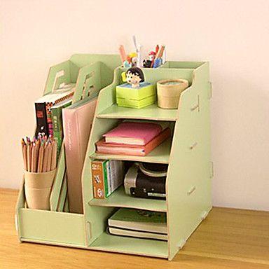 Diy multifuncional madera s lida organizador de escritorio organizadores escritorios y madera - Organizadores escritorio ...