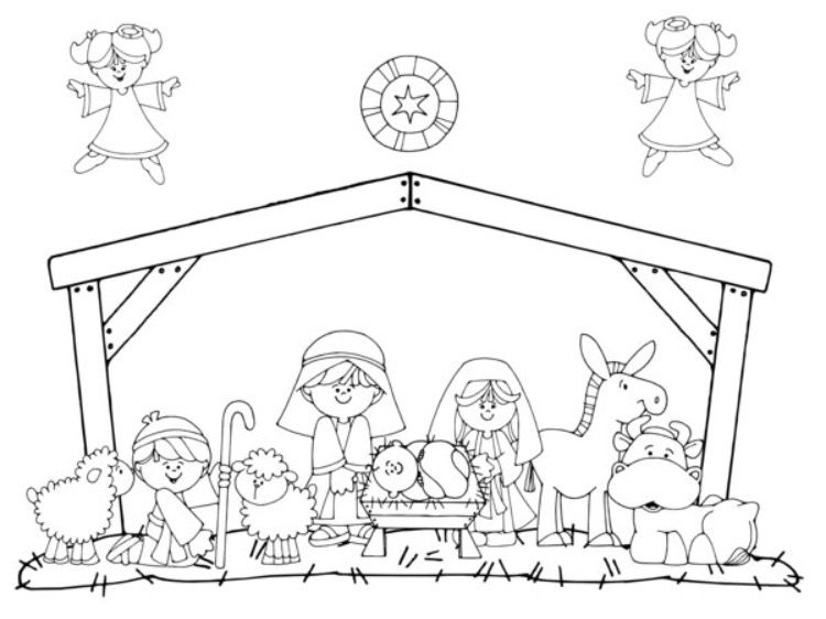 Away In A Manger Faith Nativity Coloring Pages Christmas Colors