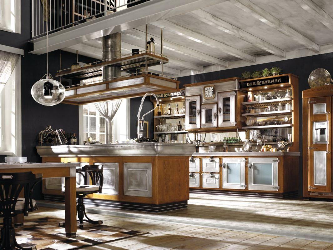 Cucine Bellissime Con Isola cucina componibile in acciaio inox e legno con isola bar