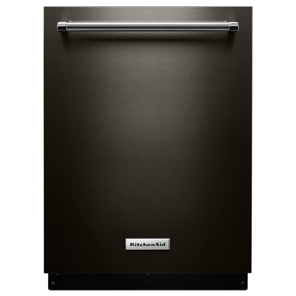 Kitchenaid Top Control Tall Tub Dishwasher In Black Stainless With Stainless Steel Tub And Dynamic Wash Arms 44 Dba Kdtm704ebs The Home Depot Stainless Dishwasher Built In Dishwasher Black Dishwasher