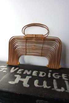 Vintage 1950s Japanese Bamboo Collapsable Bag Rattan Bags