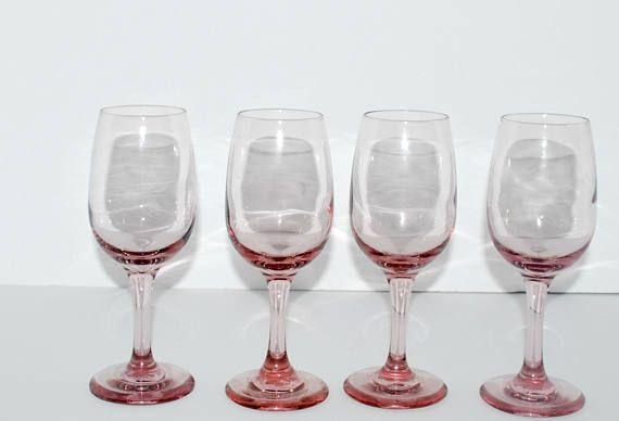 d869ef0aef Vintage pink wine glasses set of 4 pink blush stemware vintage ...