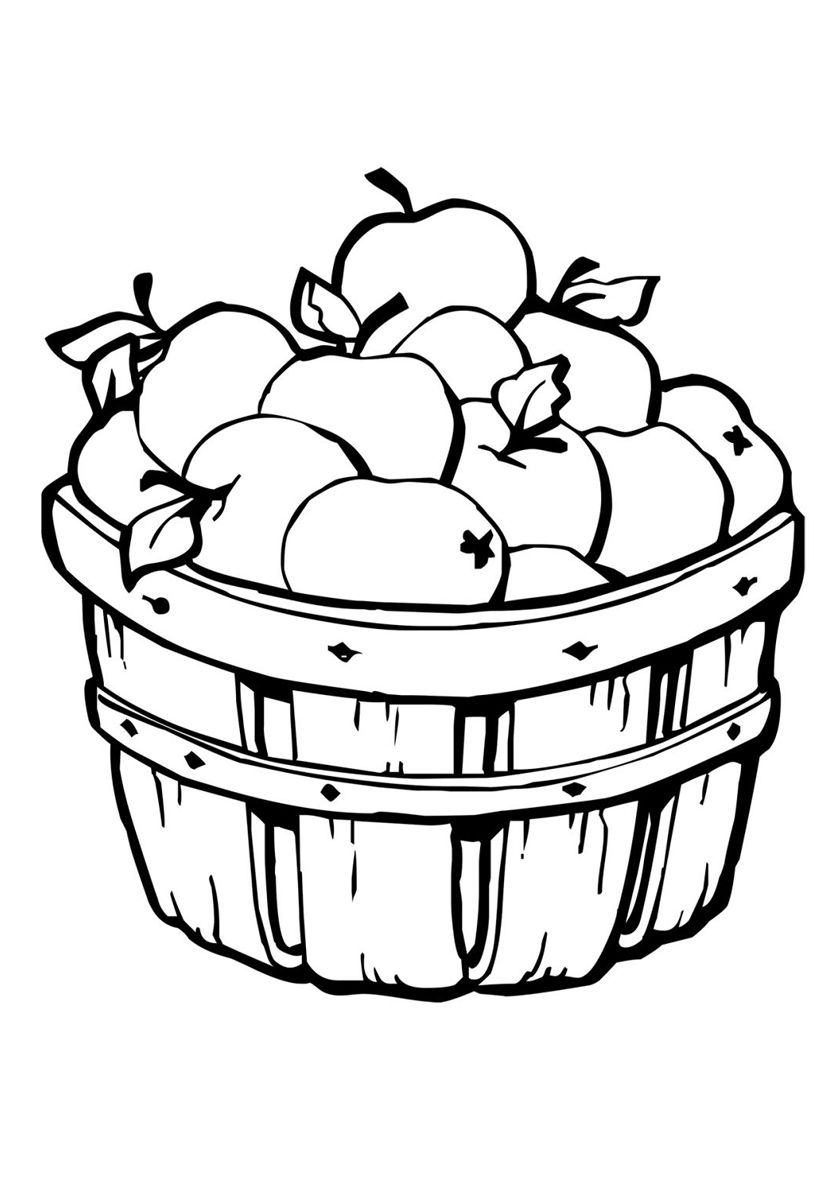 Basket Of Apples High Quality Free Coloring From The Category Autumn More Printable Pictur Apple Coloring Pages Fruit Coloring Pages Pumpkin Coloring Pages