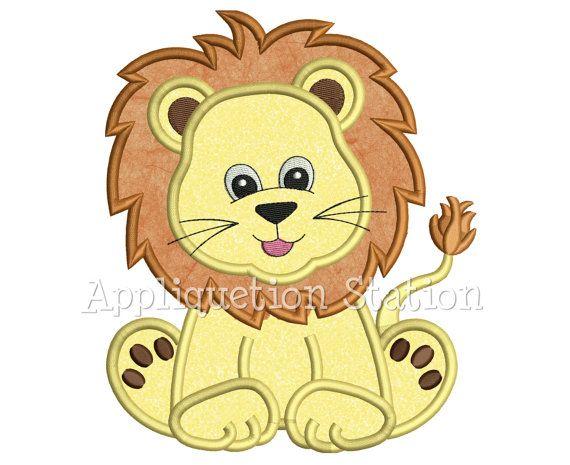 Zoo Baby Lion Cub Applique Machine Embroidery Design