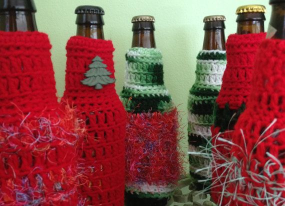 Ugly Christmas Sweater Beer Bottle Cover Drink Insulator Party Favor