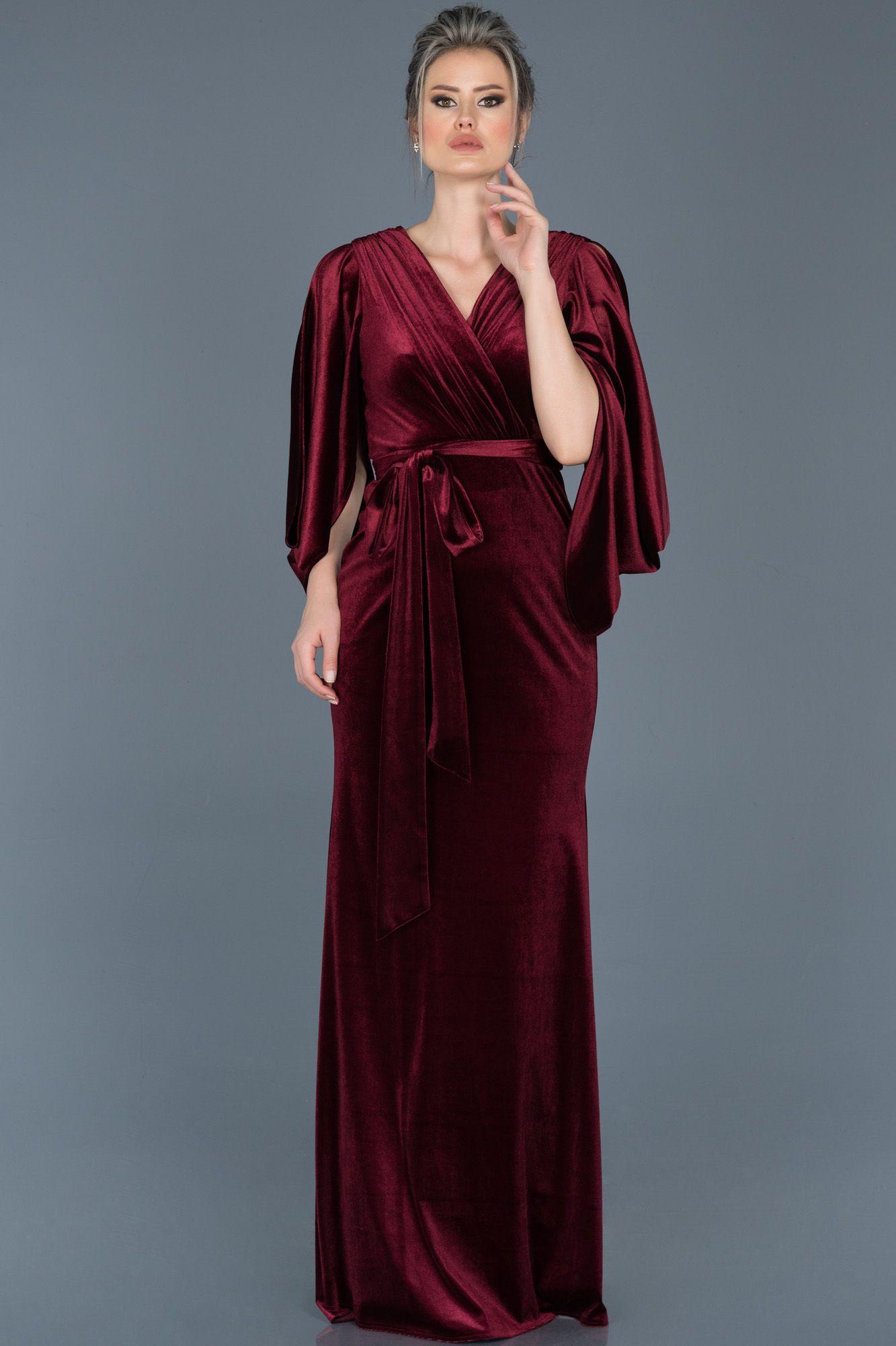 Bordo V Yaka Kadife Abiye Abu548 Aksamustu Giysileri The Dress Elbise