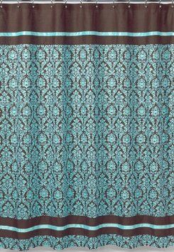 Turquoise And Brown Bella Kids Bathroom Fabric Bath Shower Curtain By Sweet Jojo Designs Home