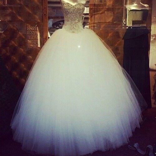 White Puffy Dress With White Diamonds Wedding Dresses Cinderella Ball Gowns Wedding Poofy Wedding Dress