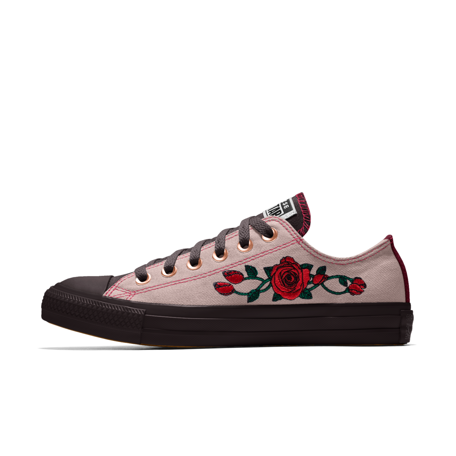 125a9837e0a19d Converse Custom Chuck Taylor All Star Rose Embroidery Low Top Shoe ...