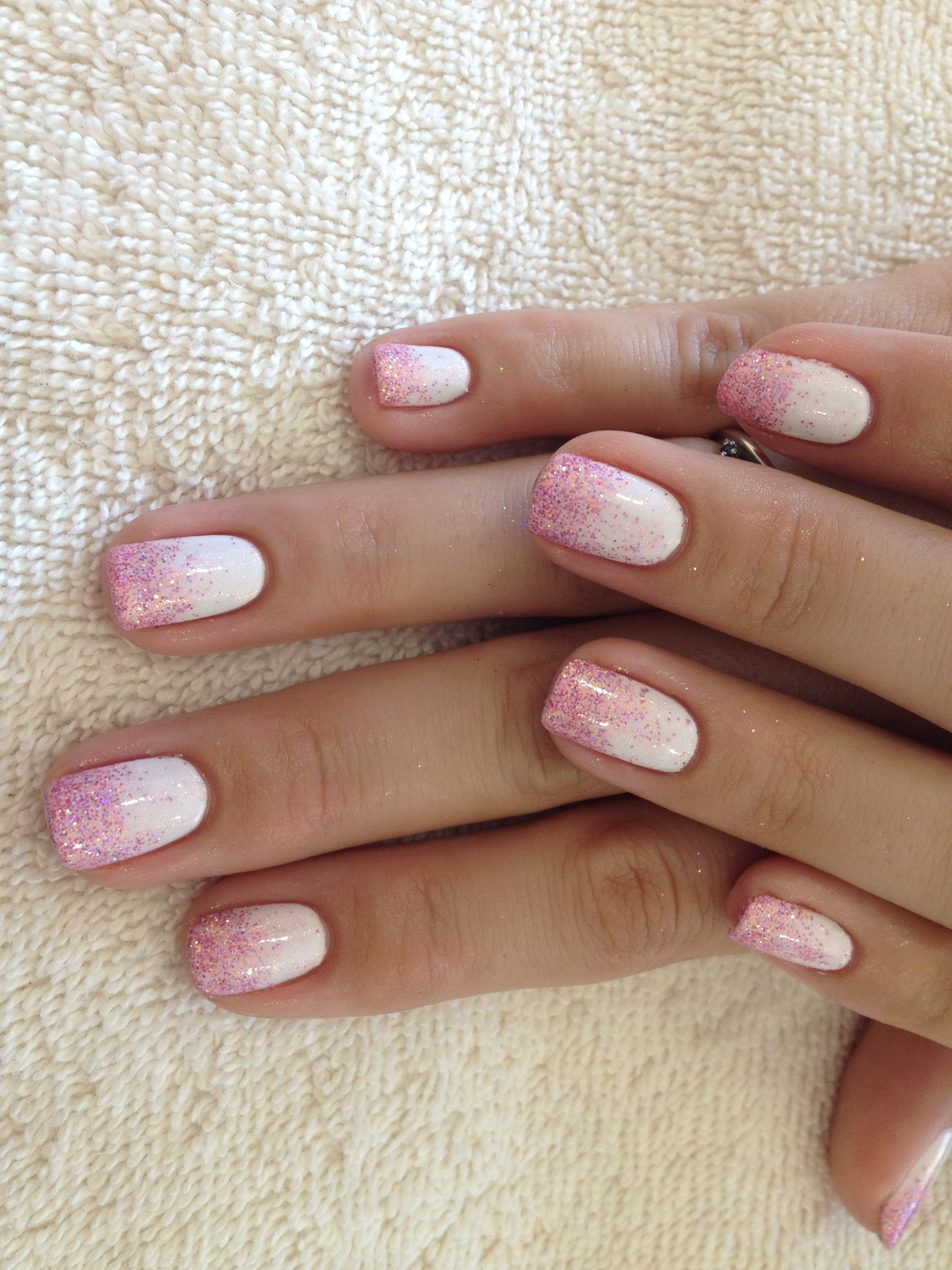 White Gel Nails With Pink Glitter On Tips Its Cute And I Usually Not