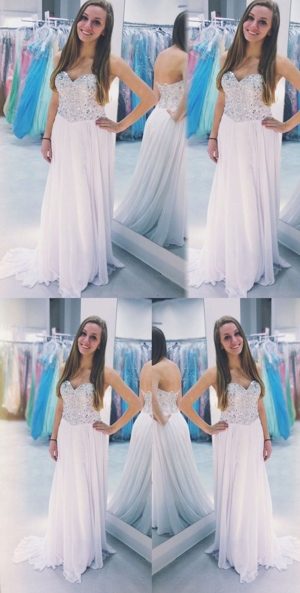 Light pink beaded long sweetheart chiffon prom dressesbd long