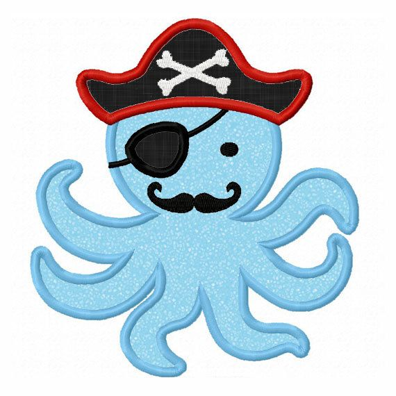 Instant Download Octopus Pirate Applique Machine Embroidery Design NO:1323 @Lynne Hollingsworth