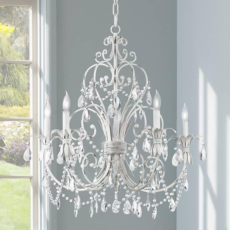 Chateau Vieux Collection Antique White Five Light Chandelier